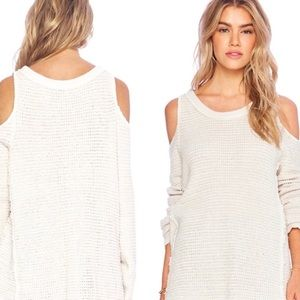 Free people knit cold shoulder cream sweater